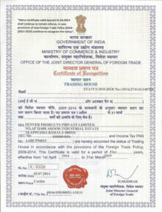 Trading House Certificate issued by Govt of India