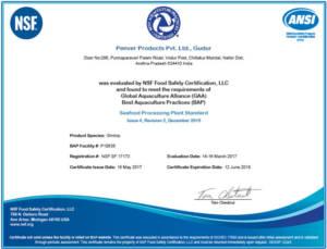 GAA (Global Aquaculture Alliance) BAP (Best Aquaculture Practices) Certificate: Gudur Facility.