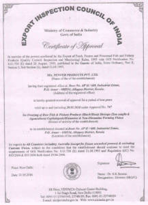 EIC (Export Inspection Council of India) Approval: Aroor Facility
