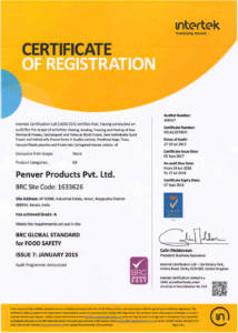 BRC (British Retail Consortium) Global Standard for Food Safety certificate: Aroor Facility