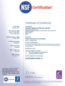 Global Standards of Food Safety certificate: Gudur Facility